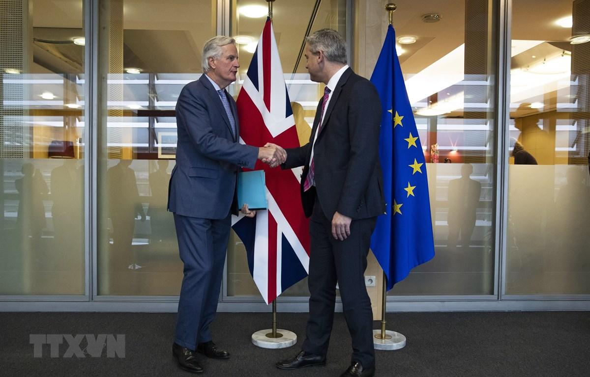 Trưởng đoàn đàm phán Brexit của EU Michel Barnier (trái) và Bộ trưởng Brexit của Anh Stephen Barclay tại vòng đàm phán ở Brussels, Bỉ, ngày 11/10/2019. (Ảnh: AFP/ TTXVN)