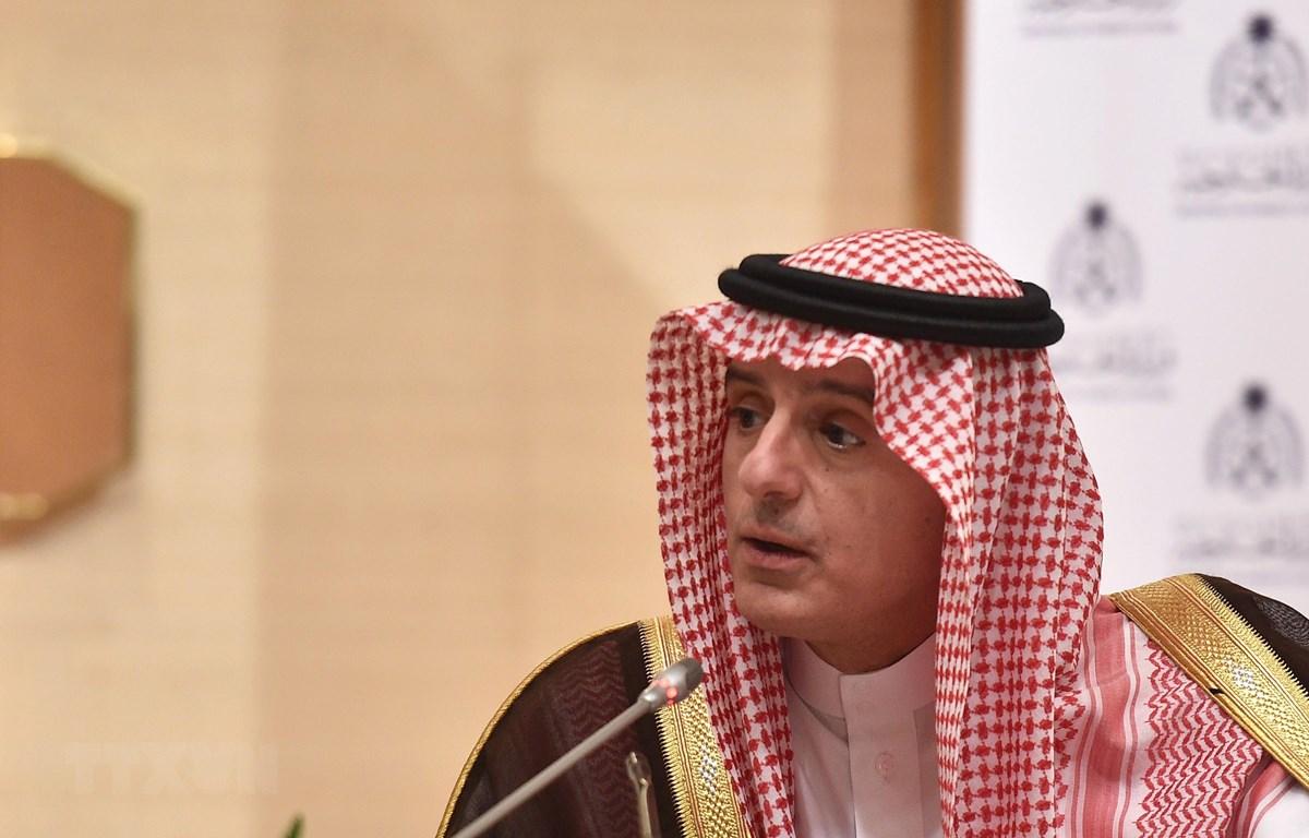 Quốc vụ khanh phụ trách ngoại giao của Saudi Arabia Adel al-Jubeir phát biểu tại cuộc họp báo ở Riyadh ngày 4/3/2019. (Ảnh: AFP/TTXVN)