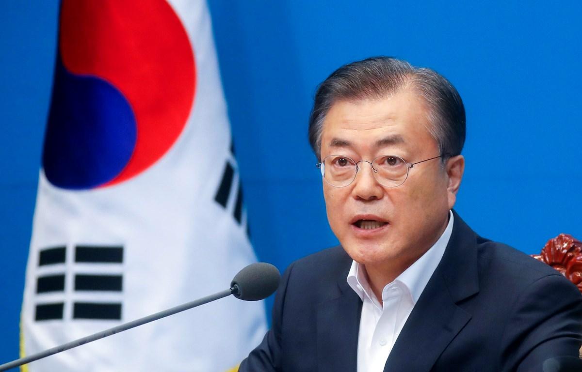 Tổng thống Hàn Quốc Moon Jae-in phát biểu tại cuộc họp ở Seoul ngày 2/8/2019. (Ảnh: Yonhap/TTXVN)
