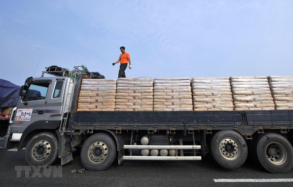 Xe chở lương thực viện trợ của Hàn Quốc tới Triều Tiên tại khu vực cửa khẩu ở Paju, phía bắc thủ đô Seoul, Hàn Quốc, ngày 26/7/2011. (Ảnh: AFP/TTXVN)