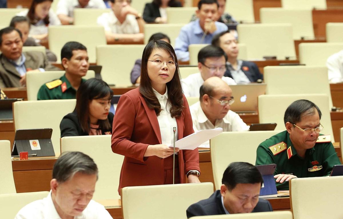 Đại biểu Quốc hội tỉnh Bắc Giang Hà Thị Lan phát biểu ý kiến. (Ảnh: Doãn Tấn/TTXVN)