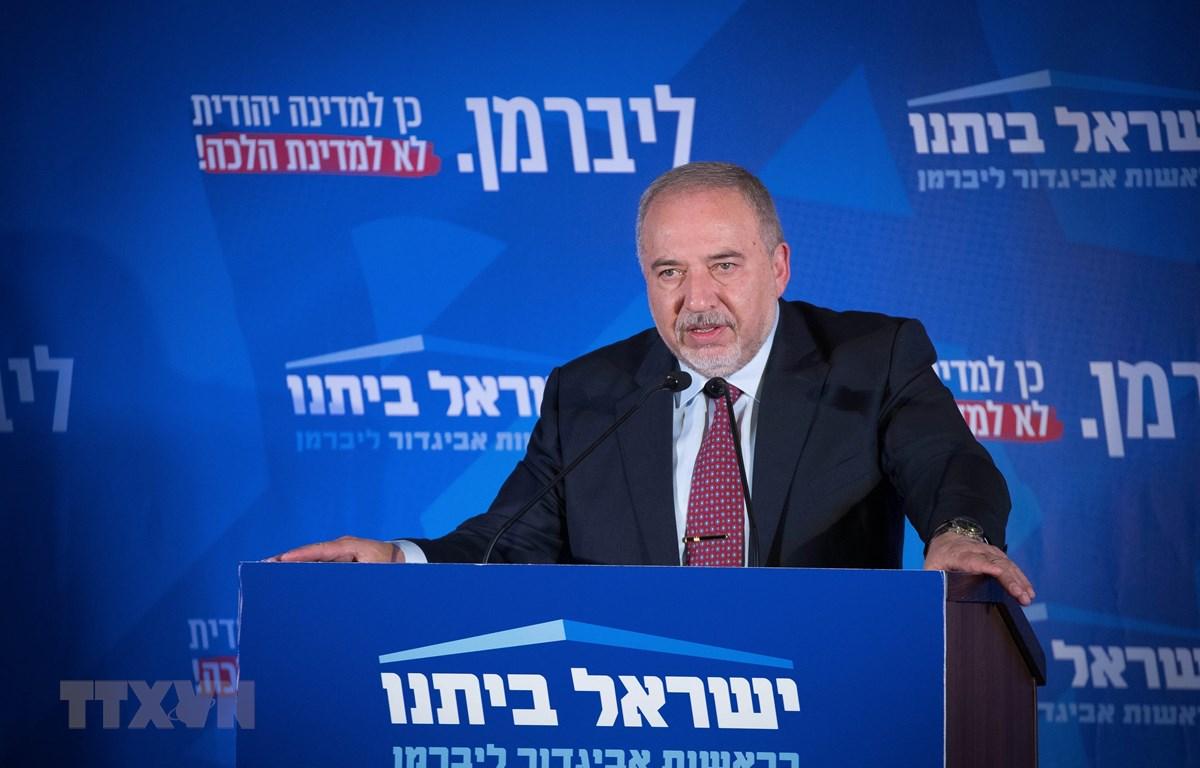 Lãnh đạo đảng Yisrael Beiteinu của Israel, ông Avigdor Lieberman, phát biểu tại Jerusalem, ngày 17/9/2019. (Ảnh: THX/TTXVN)