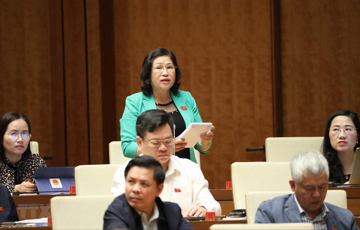 Đại biểu Quốc hội tỉnh Bắc Kạn Phương Thị Thanh phát biểu. (Ảnh: Văn Điệp/TTXVN)