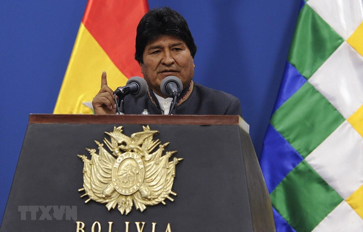 Tổng thống Bolivia Evo Morales trong cuộc họp báo tại La Paz ngày 31/10/2019. (Ảnh: AFP/TTXVN)