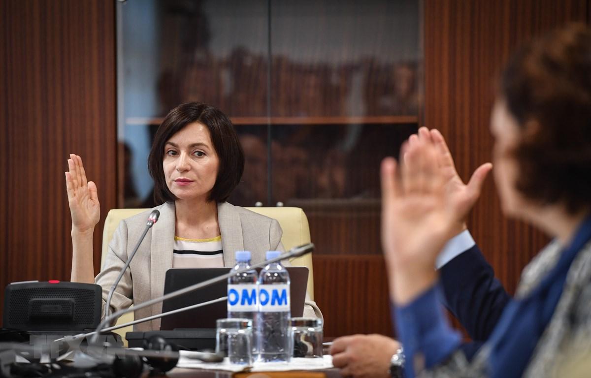 Thủ tướng Moldova Maia Sandu trong cuộc họp nội các tại Chisinau ngày 10/6/2019. (Ảnh: AFP/TTXVN)