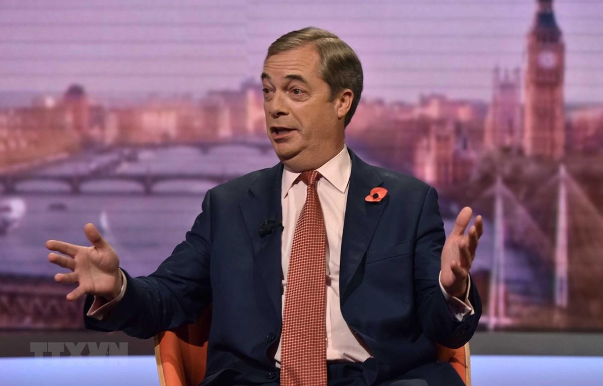 Lãnh đạo đảng Brexit của Anh Nigel Farage. (Ảnh: AFP/TTXVN)
