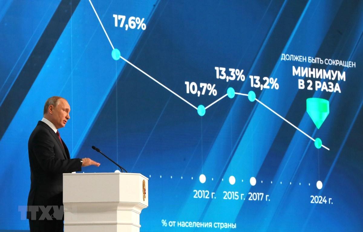 Tổng thống Vladimir Putin đọc Thông điệp liên bang thường niên trước Hội đồng Liên bang Nga ở Moskva ngày 20/2. (Ảnh: AFP/TTXVN)