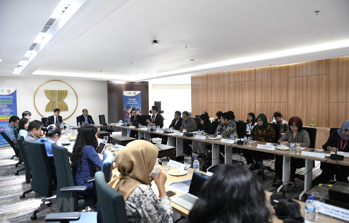Lễ công bố kết quả thăm dò nhận thức về ASEAN (PoAA). (Ảnh: Hữu Chiến/TTXVN)