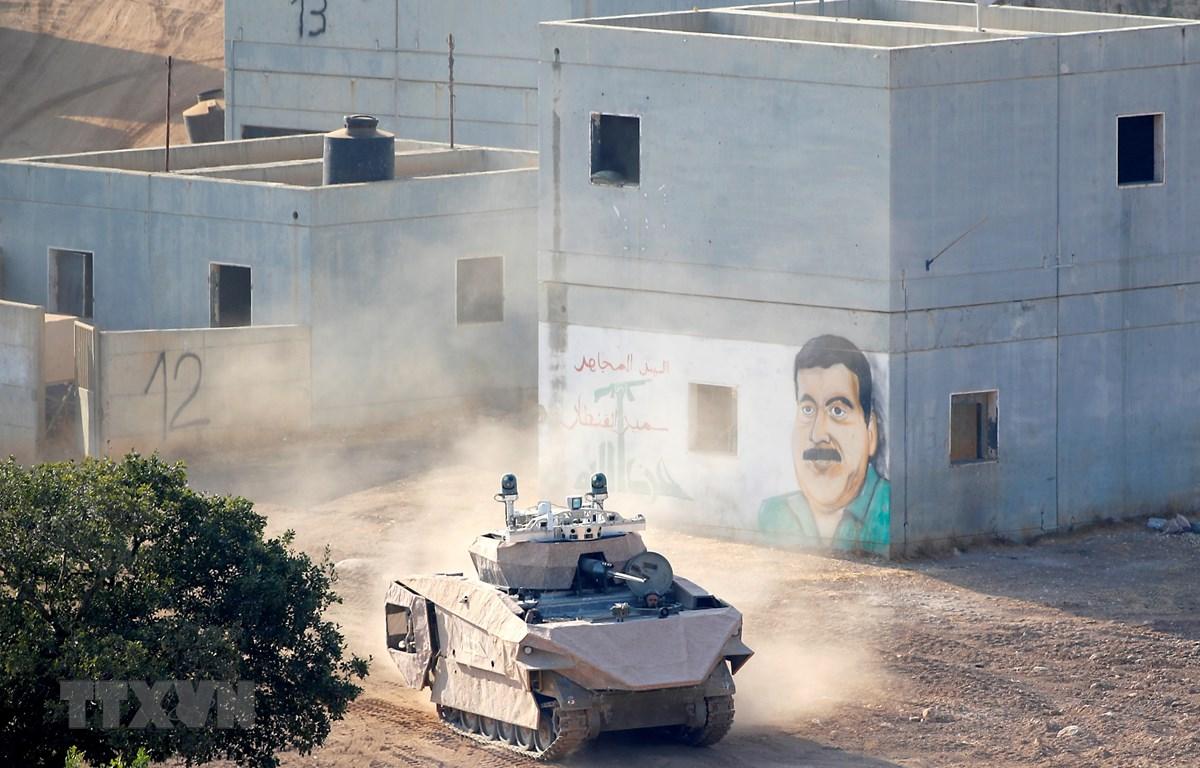 Một mẫu xe tăng được trang bị công nghệ mới tại căn cứ quân sự ở Elkayim, miền Bắc Israel ngày 4/8/2019. (Ảnh: AFP/TTXVN)