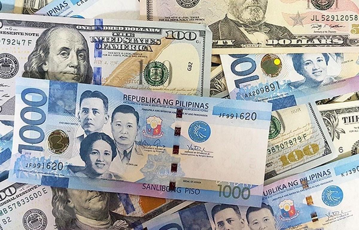 Đồng peso của Chile và đồng đôla Mỹ. (Ảnh: VOA News/TTXVN)