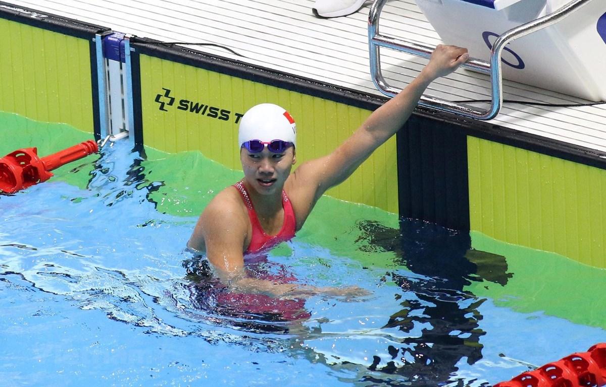 Ánh Viên để tuột mất Huy chương Vàng ở nội dung 50m bơi ngửa nữ. (Nguồn: Vietnam+)
