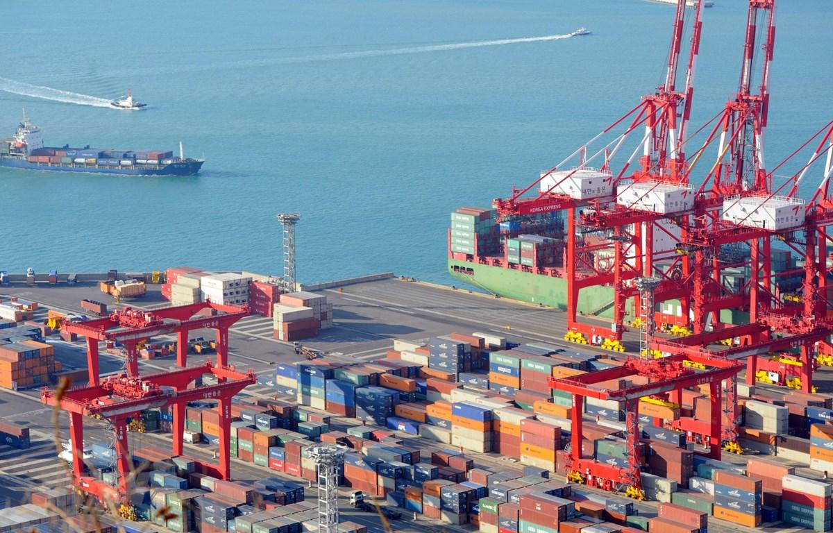 Hàng hóa được xếp tại cảng ở Busan, Hàn Quốc. (Ảnh: AFP/TTXVN)