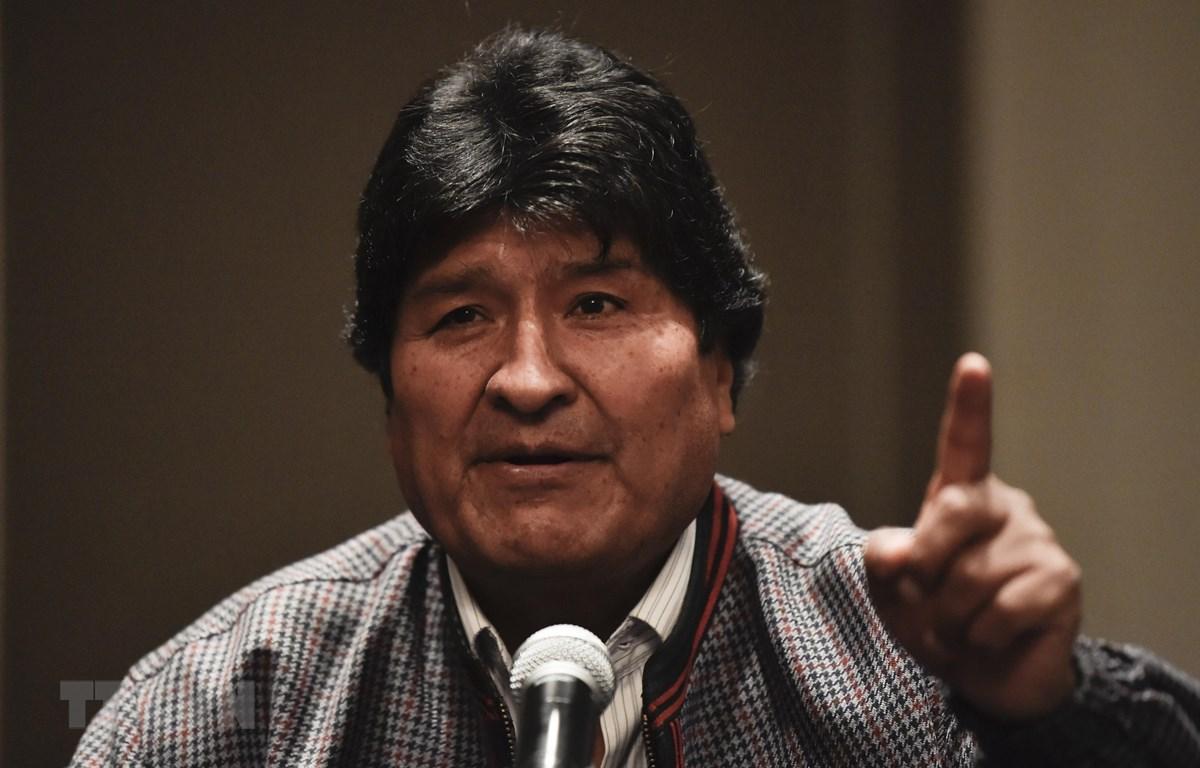 Cựu Tổng thống Bolivia Evo Morales tại cuộc họp báo ở Mexico City, Mexico ngày 20/11/2019. (Ảnh: AFP/TTXVN)