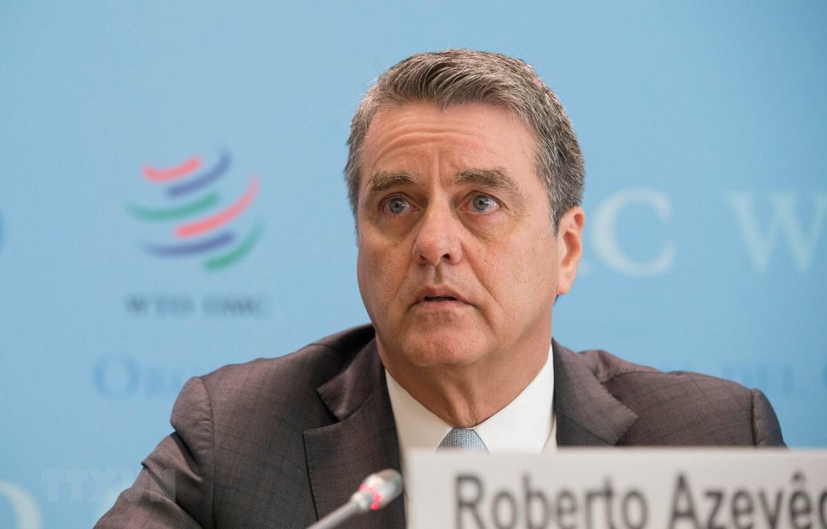 Tổng Giám đốc Tổ chức Thương mại thế giới (WTO) Roberto Azevedo phát biểu trong cuộc họp báo ở Geneva, Thụy Sĩ, ngày 2/4/2019. (Ảnh: THX/TTXVN)
