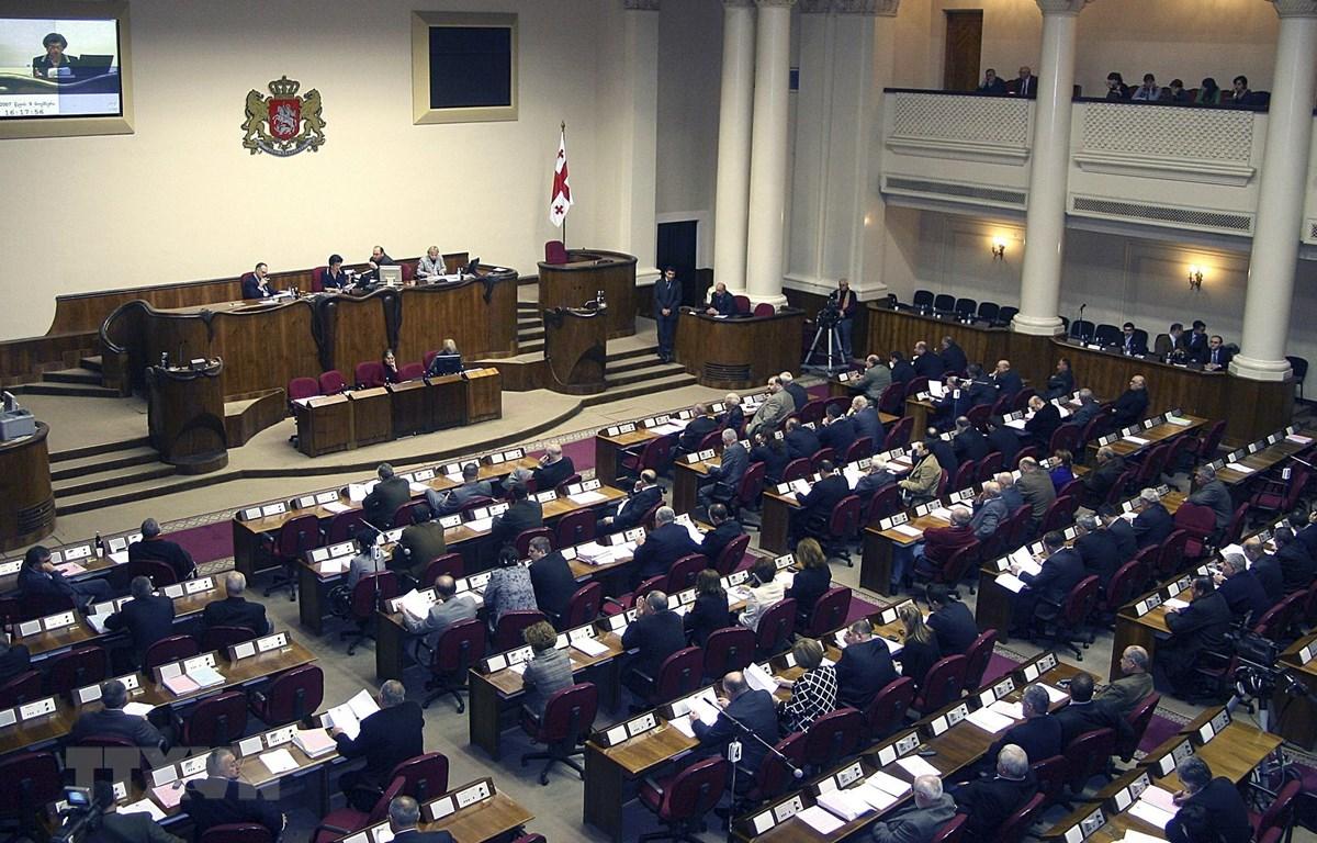 Toàn cảnh một phiên họp Quốc hội Gruzia tại Tbilisi. (Ảnh: AFP/TTXVN)