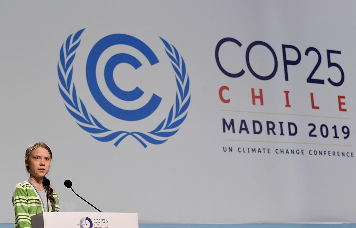 Nhà hoạt động trẻ người Thụy Điển Greta Thunberg phát biểu tại hội nghị COP 25 ở Madrid, Tây Ban Nha, ngày 11/12/2019. (Ảnh: AFP/TTXVN)