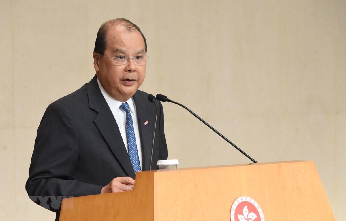 Tổng Thư ký chính quyền Hong Kong (Trung Quốc) Trương Kiến Tông trong cuộc họp báo tại Hong Kong, Trung Quốc, ngày 5/11/2019. (Ảnh: THX/ TTXVN)