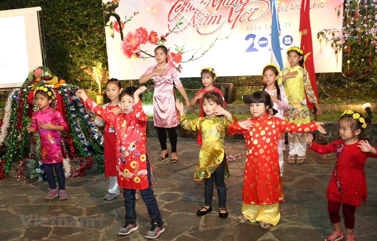 """Tiết mục văn nghệ """"cây nhà lá vườn"""" do các cháu thiếu nhi Việt Nam biểu diễn tại cuộc gặp mặt cộng đồng. (Ảnh: Hoài NamVietnam+)"""