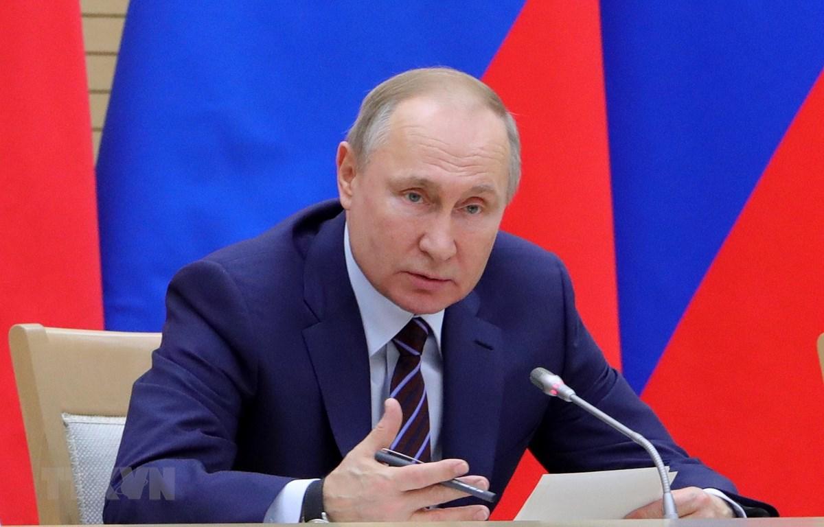 Tổng thống Nga Vladimir Putin trong bài phát biểu tại Moskva ngày 16/1/2020. (Ảnh: AFP/TTXVN)