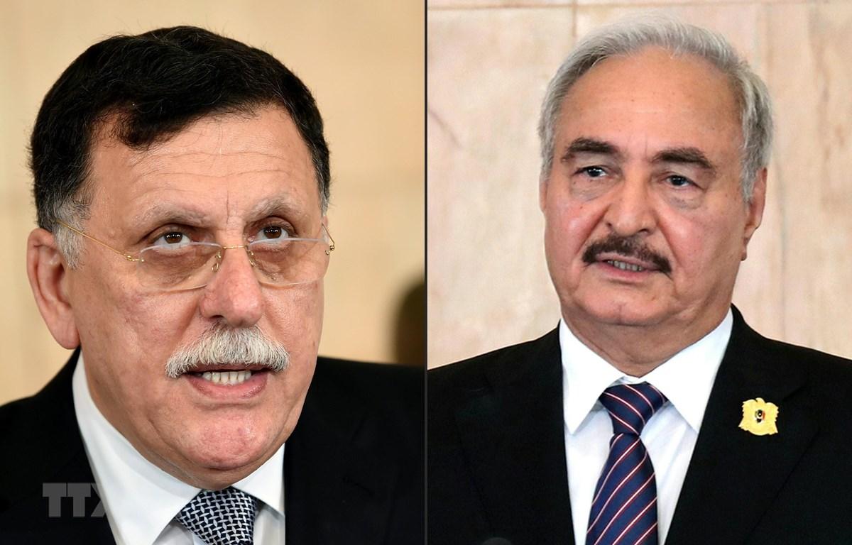 Thủ tướng Chính phủ Đoàn kết dân tộc (GNA) của Libya Fayez al-Sarraj (phải) và Tướng Khalifa Hafta lãnh đạo lực lượng tự xưng Quân đội Quốc gia Libya (LNA). (Ảnh: AFP/TTXVN)