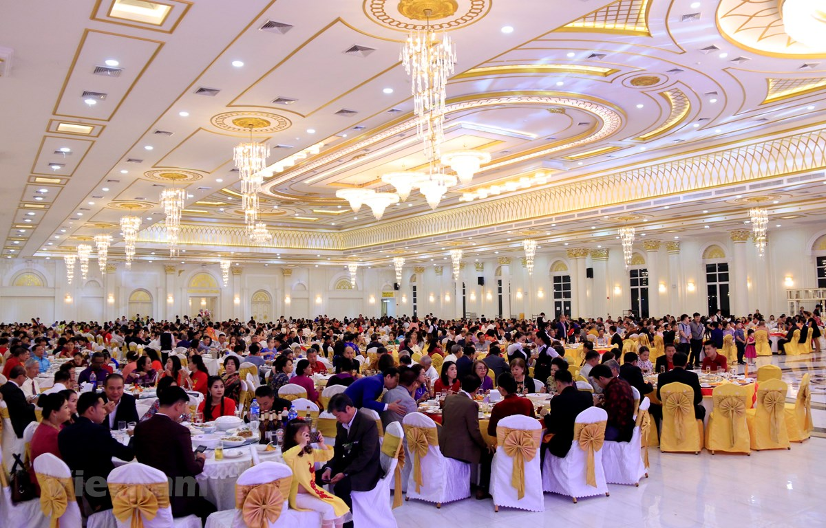 Hơn 1.000 bà con đã đến chung vui Tết cộng đồng Canh Tý 2020 tại Vientiane, Lào. (Ảnh: Phạm Kiên/Vietnam+)