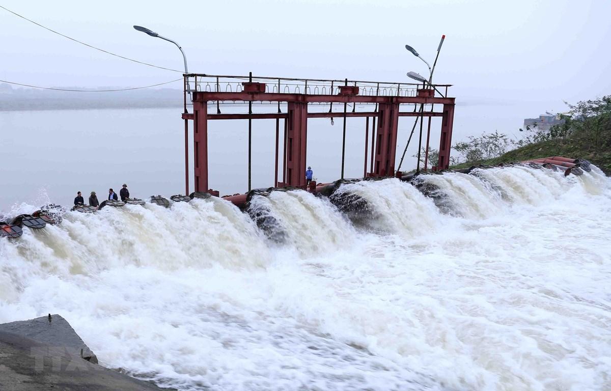Trạm bơm Phù Sa (thị xã Sơn Tây) hoạt động hết công suất để bơm nước phục vụ đổ ải. (Ảnh: Vũ Sinh/TTXVN)