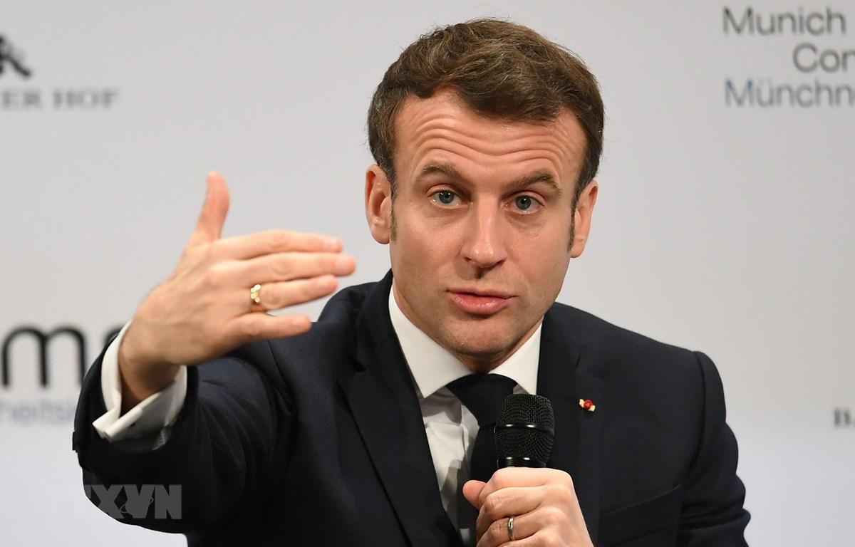 Tổng thống Pháp Emmanuel Macron phát biểu tại Hội nghị An ninh Munich, Đức, ngày 15/2/2020. (Ảnh: THX/TTXVN)