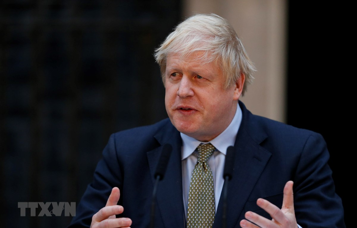 Thủ tướng Anh Boris Johnson trong bài phát biểu tại London ngày 13/12/2019. (Ảnh: THX/TTXVN)