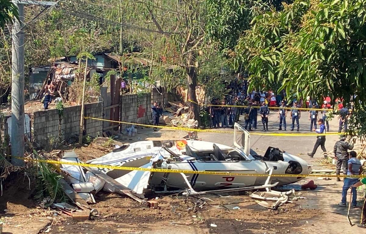 Hiện trường vụ tai nạn rơi trực thăng. (Nguồn: AP)