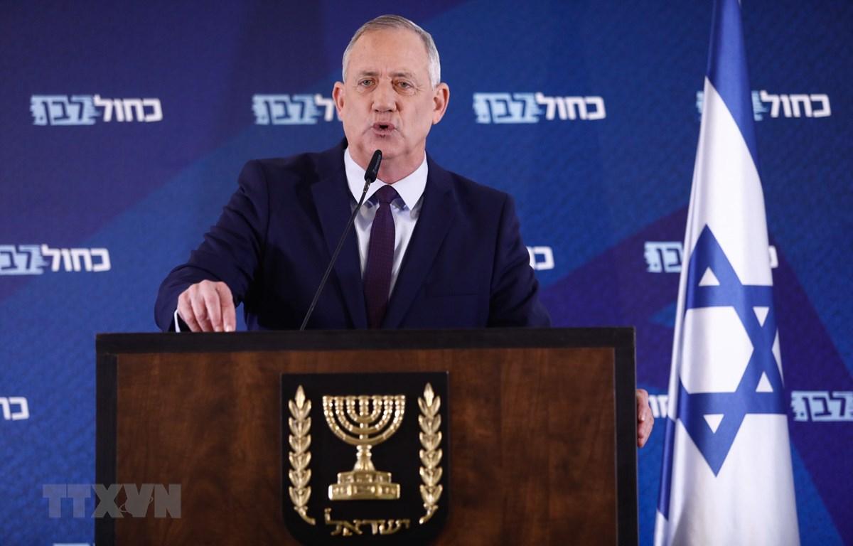 Chủ tịch đảng Xanh-Trắng của Israel, ông Benny Gantz, phát biểu tại thành phố Ramat Gan ngày 7/3/2020. (Ảnh: THX/TTXVN)