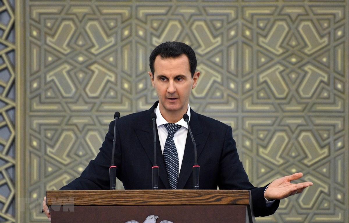 Tổng thống Syria Bashar al-Assad phát biểu tại Damascus. (Ảnh: AFP/ TTXVN)