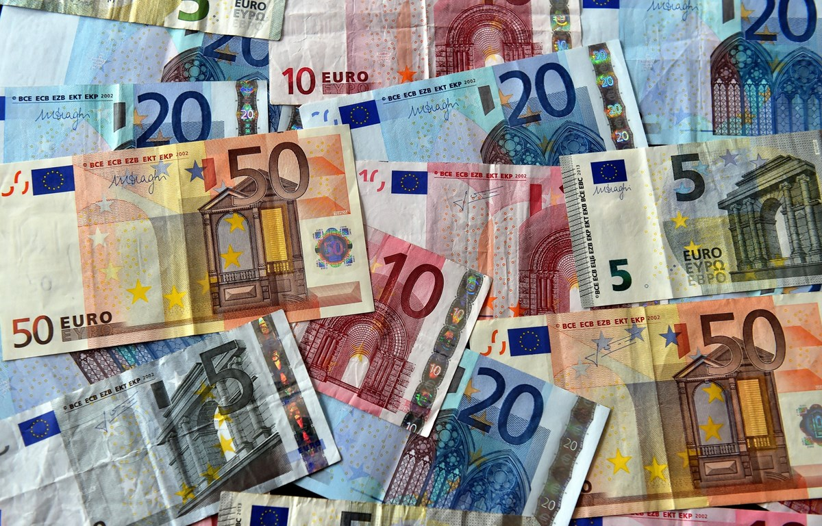 Đồng euro tại Lille, Pháp. (Ảnh: AFP/ TTXVN)
