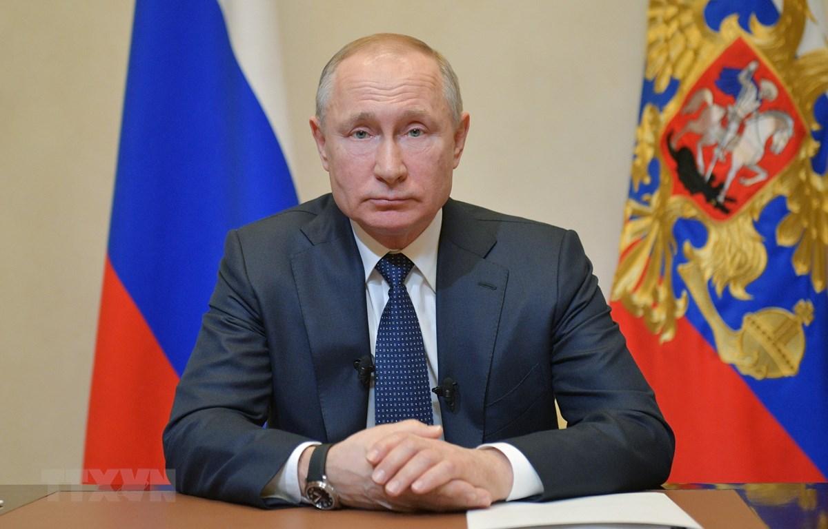 Tổng thống Nga Vladimir Putin phát biểu tại Moskva, Nga, ngày 25/3/2020. (Ảnh: AFP/TTXVN)