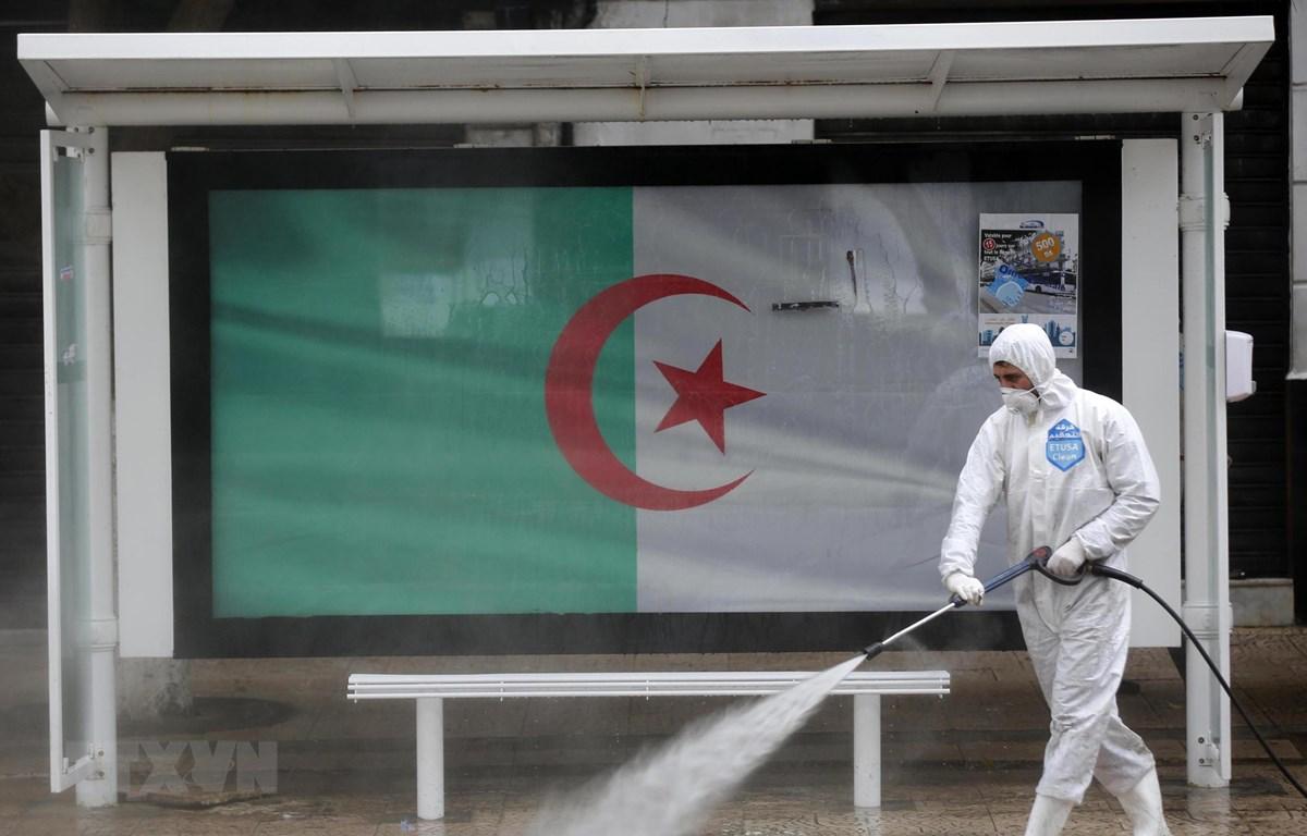 Phun khử trùng một tuyến phố ở Algiers, Algeria nhằm ngăn chặn sự lây lan của dịch COVID-19 ngày 20/3/2020. (Ảnh: THX/TTXVN)
