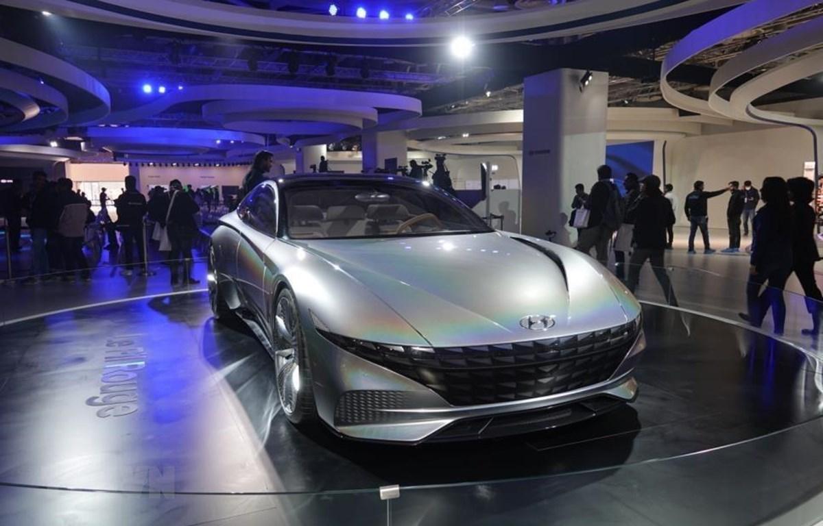 Mẫu ôtô của hãng Hyundai được trưng bày tại Triển lãm ô tô New Delhi, Ấn Độ, ngày 5/2/2020. (Ảnh: Yonhap/ TTXVN)