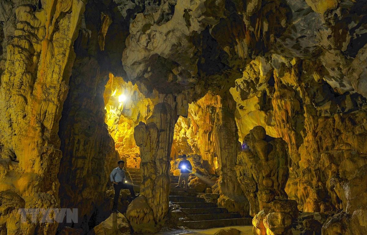 Vẻ đẹp của hang tối động Địch Lộng với vô vàn nhũ và cột đá. (Ảnh: Minh Đức/TTXVN)