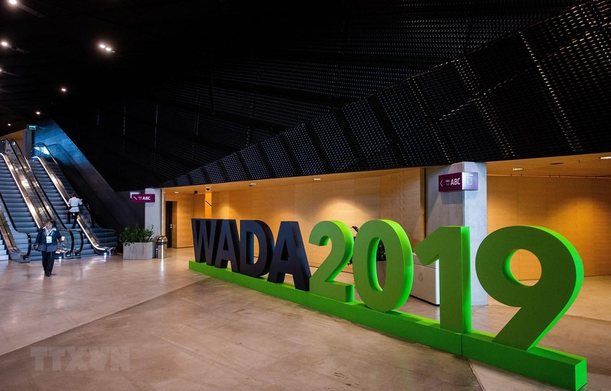 Biểu tượng Cơ quan phòng chống doping thế giới (WADA) tại Katowice, Ba Lan, ngày 7/11/2019. (Ảnh: AFP/TTXVN)