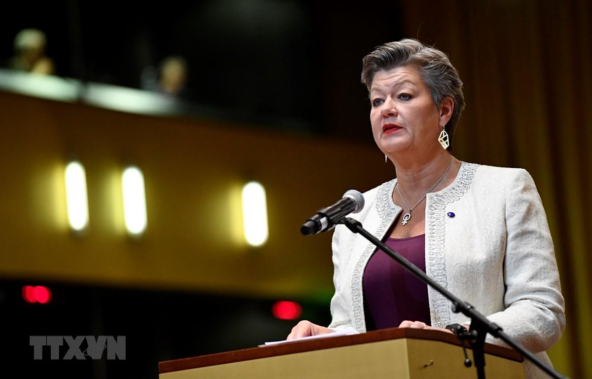 Ủy viên phụ trách các vấn đề nội vụ của EU Ylva Johansson. (Ảnh: AFP/TTXVN)