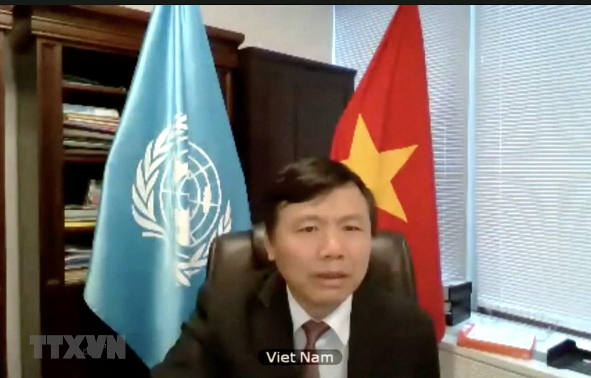 Đại sứ Đặng Đình Quý, Trưởng Phái đoàn đại diện thường trực Việt Nam tại LHQ phát biểu. (Ảnh: Hữu Thanh/TTXVN)