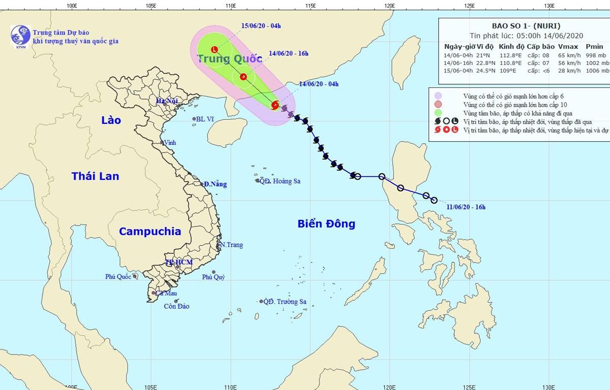 Hình ảnh vị trí và đường đi của bão số 1. (Nguồn: nchmf.gov.vn)
