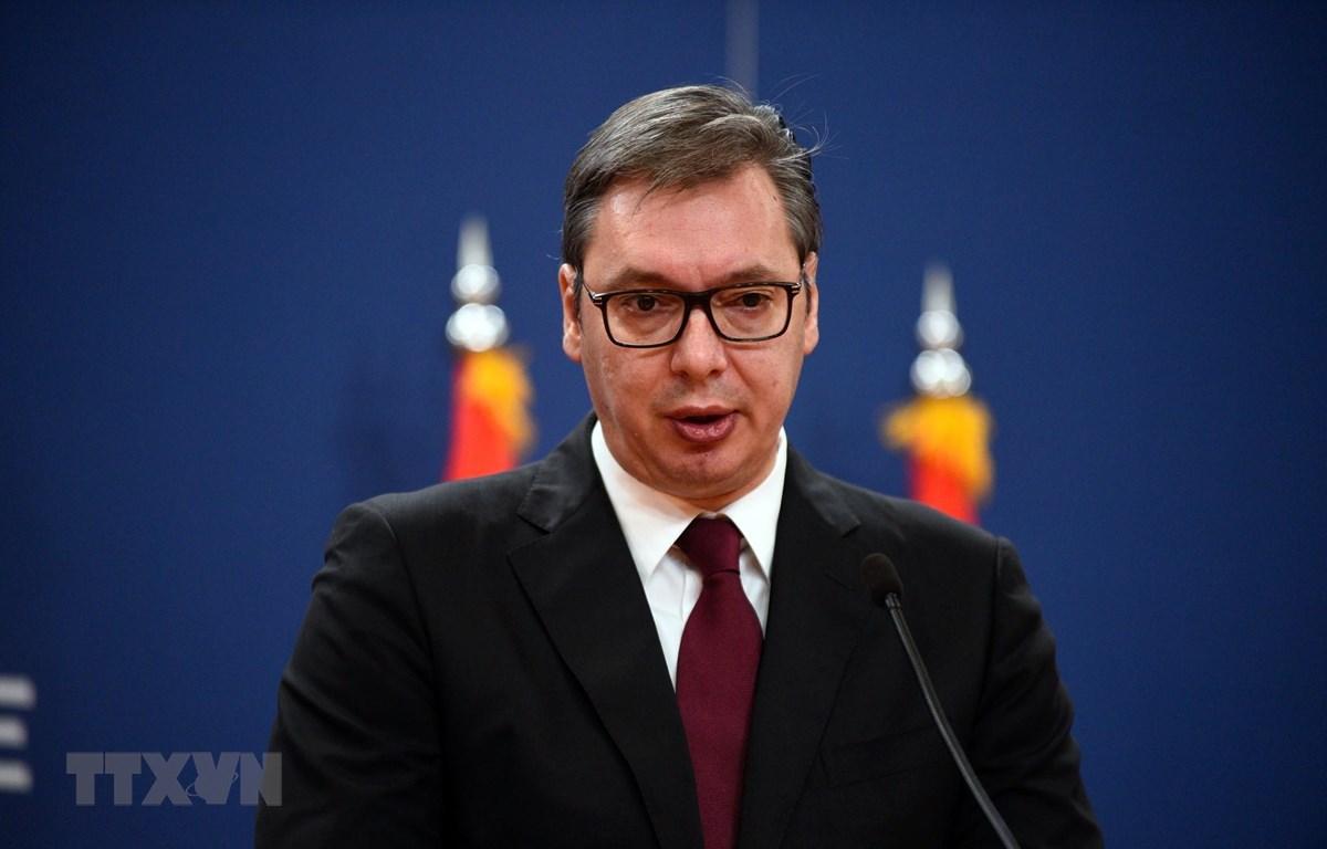 Tổng thống Serbia Aleksandar Vucic phát biểu tại cuộc họp báo ở Belgrade ngày 19/10/2019. (Ảnh: THX/TTXVN)