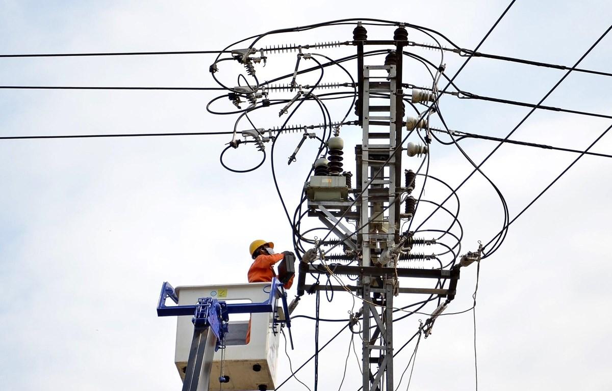 Công nhân Công ty Điện lực nâng cấp hệ thống lưới điện. (Ảnh: Ngọc Hà/TTXVN)