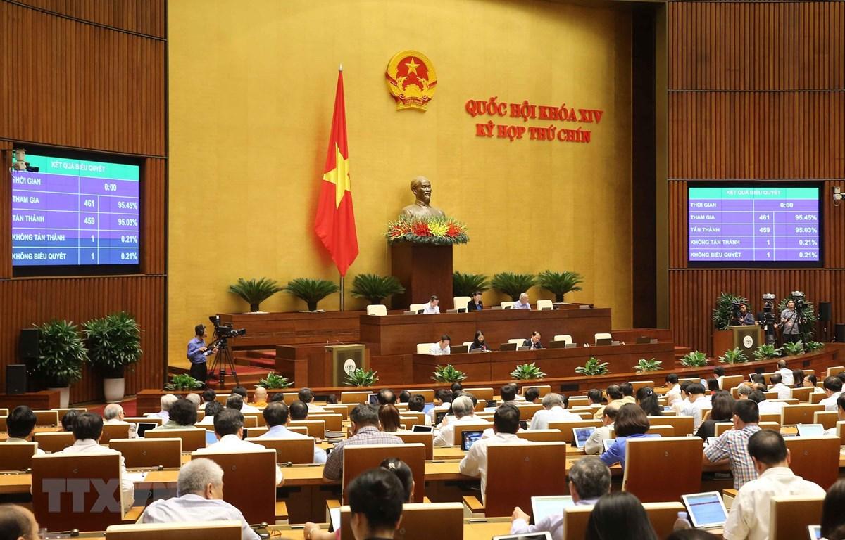 Biểu quyết thông qua Nghị quyết về công nhận và cho thi hành phán quyết của cơ quan giải quyết tranh chấp theo quy định của Hiệp định Bảo hộ đầu tư Việt Nam-EU (EVIPA). (Ảnh: Doãn Tấn/TTXVN)
