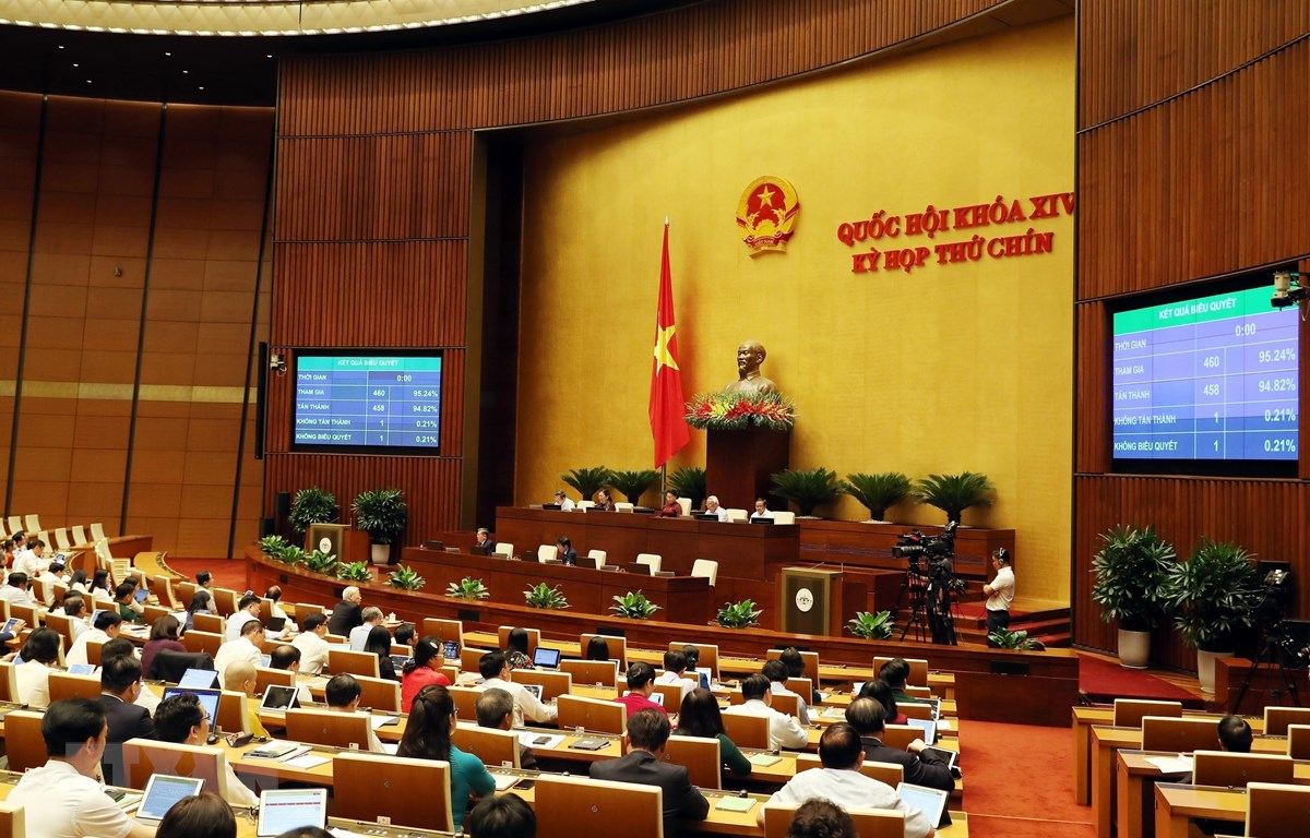 Các đại biểu Quốc hội thông qua Nghị quyết phê chuẩn gia nhập Công ước số 105 của Tổ chức Lao động Quốc tế về xóa bỏ lao động cưỡng bức với tỷ lệ 95,24% số đại biểu tán thành. (Ảnh: Trọng Đức/TTXVN)