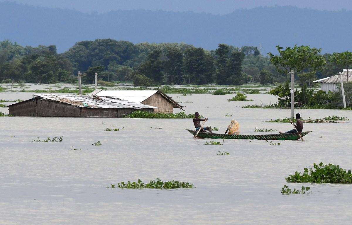 Cảnh ngập lụt sau những trận mưa lớn tại Gagalmari, bang Assam, Ấn Độ, ngày 14/7/2020. (Ảnh: AFP/TTXVN)