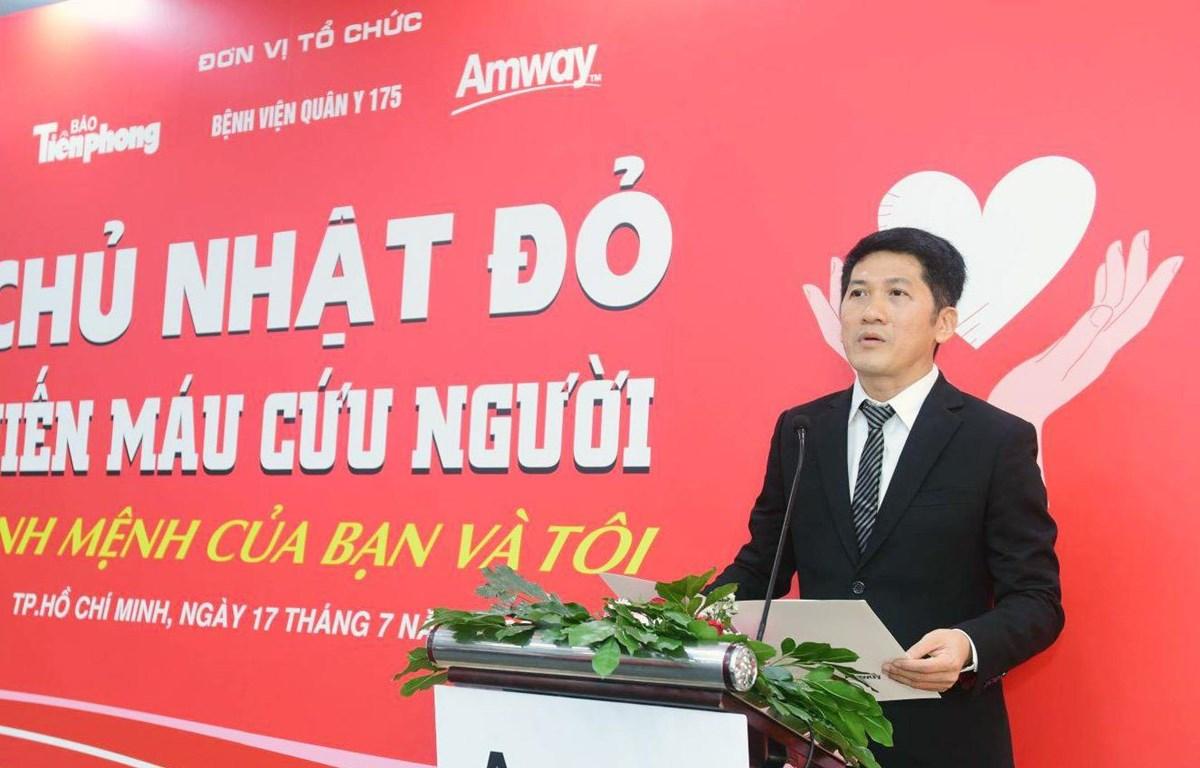 Ông Huỳnh Thiên Triều, Tổng giám đốc Amway Việt Nam phát biểu tại sự kiện. (Nguồn: CTV/Vietnam+)