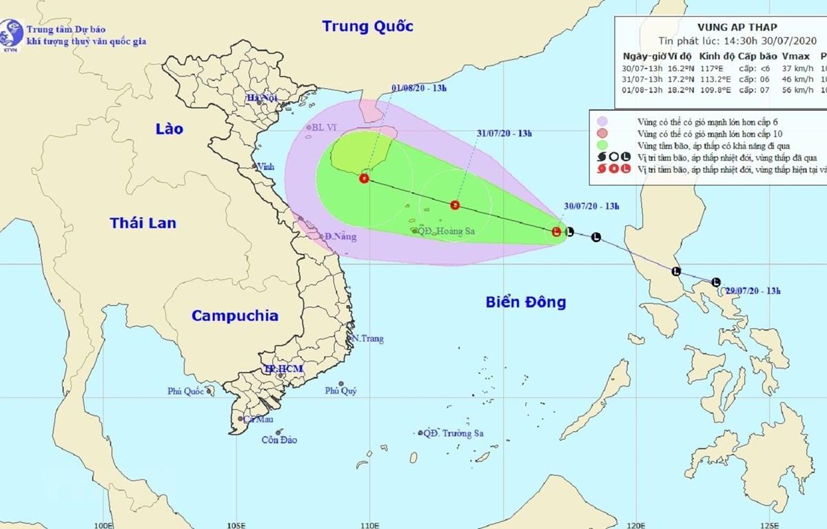 Bản đồ đường đi của vùng áp thấp trên Biển Đông. (Nguồn: nchmf.gov.vn)