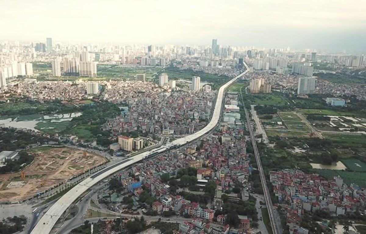 Đường vành đai 3 nối cầu Thăng Long-Mai Dịch nhìn từ trên cao. (Nguồn: Vietnam+)
