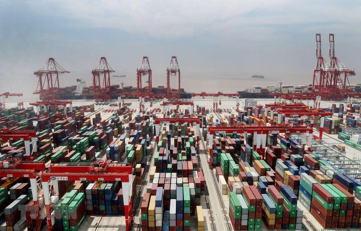 Các container hàng hóa xếp tại cảng Yangshan ở Thượng Hải, Trung Quốc, ngày 17/4/2020. (Ảnh: THX/TTXVN)