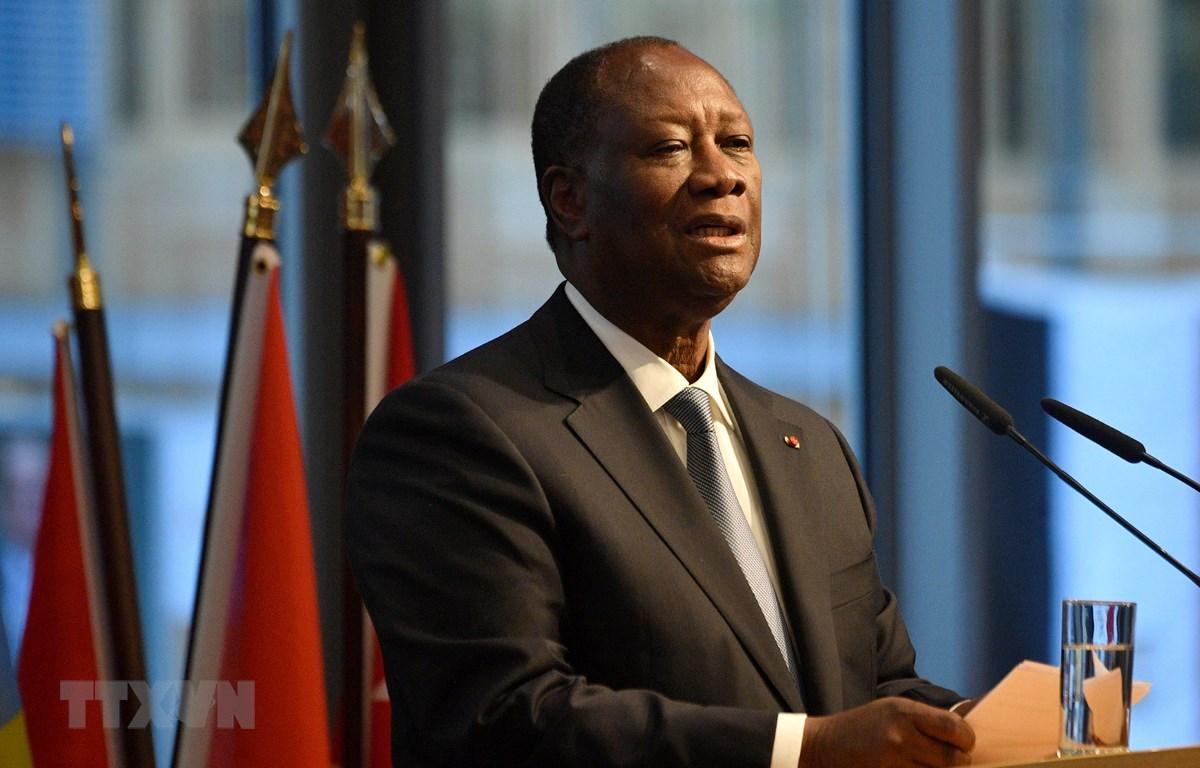 Tổng thống Côte d'Ivoire Alassane Ouattara phát biểu tại một hội nghị ở Berlin, Đức, ngày 19/11/2019. (Ảnh: AFP/TTXVN)